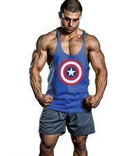 Mens Captain America Singlets Tank Top Stringer Bodybuilding Gym Fittness Vest