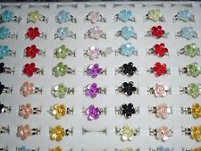 30 x kids Flower adjustable costume rings