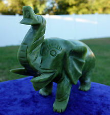 Green JADE ELEPHANT Crystal Display Hand Carved Good Luck & Prosperity Gem Stone