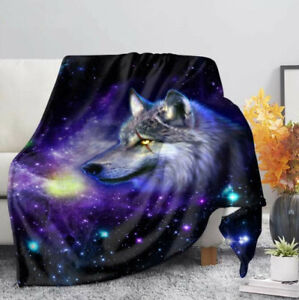 Galaxy Wolf 3D Print Sherpa Blanket Travel Couch Quilt Cover Throw Bedding