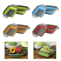 Kitchen Collapsible Foldable Silicone Colander Fruit Vegetable Strainer Basket.