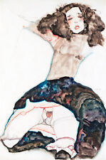 Black Haired Girl with Lifted Skirt by Egon Schiele A1 High Quality Art Print
