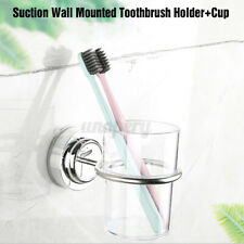 Bathroom Suction Wall Mounted Single Stainless Toothbrush Tumbler Holder w/ Cup