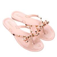 Flip Flops Stud Bow Flat Jelly Sandals Thong Antiskid Beach Women Waterproof