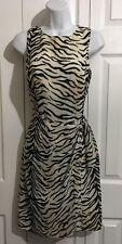 DAVID WARREN Ivory Black Zebra Tiger Stripe Chiffon Sheath Dress Size 4 SMALL