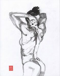 Sketches Of Mondays - LOT4X 11x14in Graphite - Nude Figure Leo Charre