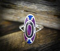 Sterling silver Navajo vintage inspired ring with Sugilite and Lapis Lazuli