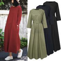 ZANZEA Damen O-Ausschnitt Elegant Lang Kleid Mit Gürtel Baumwolle Lose Maxikleid