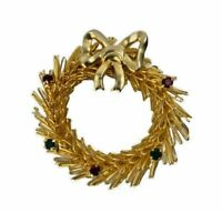 Vintage Gold Tone Wire Christmas Wreath w Red & Green Rhinestone Bow Brooch Pin