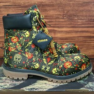 """Atmos x Timberland 6"""" Scarf Fabric Men 10.5 Black Red Yellow AOP Boots TB0A1V2W"""