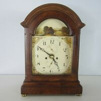 """Roger Lascelles Clocks of London Brown Wood Mantle Clock 7.5"""" Tall England"""