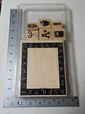 STAMPIN UP ELEMENTARY DAYS FRAME WOOD MOUNT NEW STAMP SET A3782