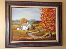 "18in x 24in ORIGINAL OIL ON CANVAS  ""AUTUMN"" WITH WOOD FRAME."
