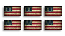 6 Mini USA Rustic Flag Sticker Decal Car Tag Cup Phone Laptop American Helmet HD
