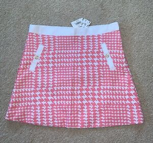 Janie And Jack Pink Strawberry Houndstooth Skirt Girl Size 10 Adjustable Waist