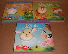 Lot of 3 Plush Baby Board Books Kitten,Lamb,Squirrel NEW