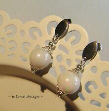 Edelstahl  Ohrringe WEISS Perlen Hochzeit    ** handmade **