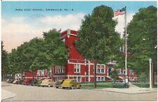 Penn High School in Greenville PA Postcard 1943