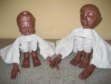 Beautiful Indonesian Hand Made Wooden Carved Cloth Puppets Couple Dolls Figurine