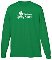 This Is My Lucky Clover Shirt St Patricks Day Festival Irish Parade Mens LS Tee