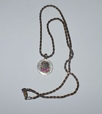 VINTAGE STERLING SILVER AND RUBY PENDANT MEDALLION NECKLACE