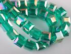 30pcs 6mm Cube Square Faceted Crystal Glass Charms Loose Beads Peacock Green AB