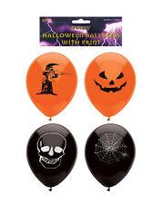 Orange & Black Halloween Design Printed Party Balloons 15 Pack