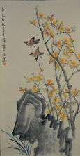 Vintage Chinese Watercolor BIRD AND FLOWER Wall Hanging Scroll Painting