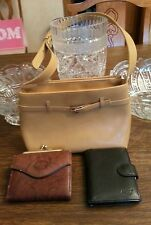 Lot of 3 items, beige handbag and two wallets
