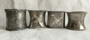 LOT OF 4 VINTAGE SILVERPLATE ETCHED NAPKIN RINGS