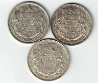 3 X CANADA 50 CENTS HALF DOLLARS KING GEORGE VI SILVER COINS 1937 1938 1939