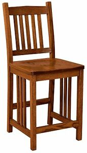 "Amish Mission 24"" Stationary Counter Height Bar Stool Solid Wood Set (3)"