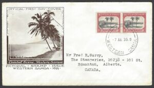 68 Western Samoa 1935 1d Apia illustrated FDC First Day cover to Canada