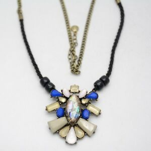 baublebar jewelry antique gold tone cut resin bead pendant abalone long necklace