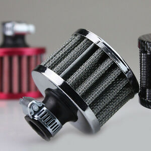 1pc Silvery 12mm Car Motor Cold Air Intake Filter Turbo Vent Crankcase Breather