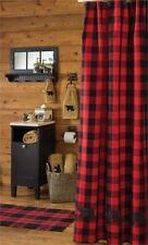 "Buffalo Check Bear Shower Curtain Bathroom by Park Designs 72"" Bath Red Black"