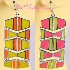 Retro Funky Bright Colour Block Pop Geometric Shape Artisan Enamel Drop Earrings