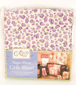 "CoCaLo Baby ""Sugar Plum"" Pink Purple Flowers Girl Crib Sheet *NEW* FREE SHIPPING"