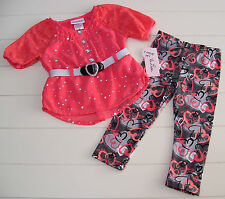 Girls Little Lass Coral Rhinestone Valentine Heart Top & Pants Outfit 12M NWT