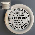 Antique 1700s JB Thorn Chemist Porcelain Tooth Powder Pot & Lid John Tarrant NY