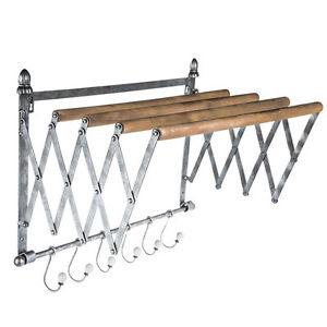 Galvanized Metal Wall Rack Wood Rods w/ Six Silver Hooks Home Storage Organizer