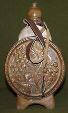 Vintage hand carved floral wood wine brandy flask pitcher
