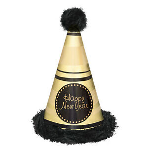 Black & Gold Happy New Year Foil & Marabou Party Cone Hat