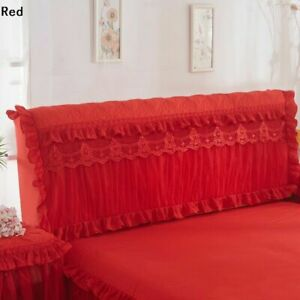 1X Bed Headboard Slipcover Lace Flower Ruffle Stretch Dustproof Cover Home Decor