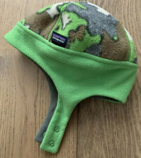 PATAGONIA Baby Synchilla Fleece Snap Hat Size 6-18 Months Green With Design
