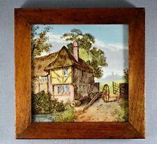 More details for antique mintons china works waterside views oak framed tile thatched cottage