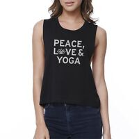 Peace Love Yoga Crop Top Yoga Work Out Tank Top Cute Yoga T-shirt