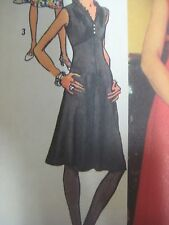 Vtg 70s Simplicity DRESS w/ V-NECK RUFFLED DESIGNER FASHION Sewing Pattern Women