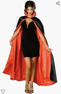 Reversible Satin Cape Vampire Devil Magician Opera Phantom Cloak Costume NIP