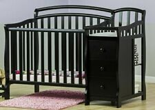 Convertible Baby Bed 3 In 1 Mini Crib Black Dressing Table Changer Nursery New
